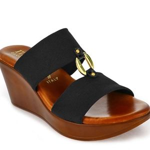 Italian Shoemakers Elly Wedge Sandal - Black 6